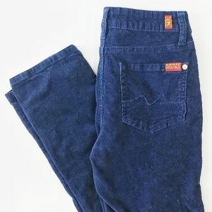 7 For All Mankind navy strait leg corduroy jeans
